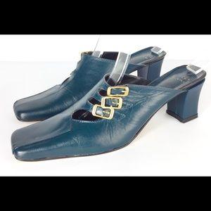 Vintage GUCCI teal green buckle mules heels